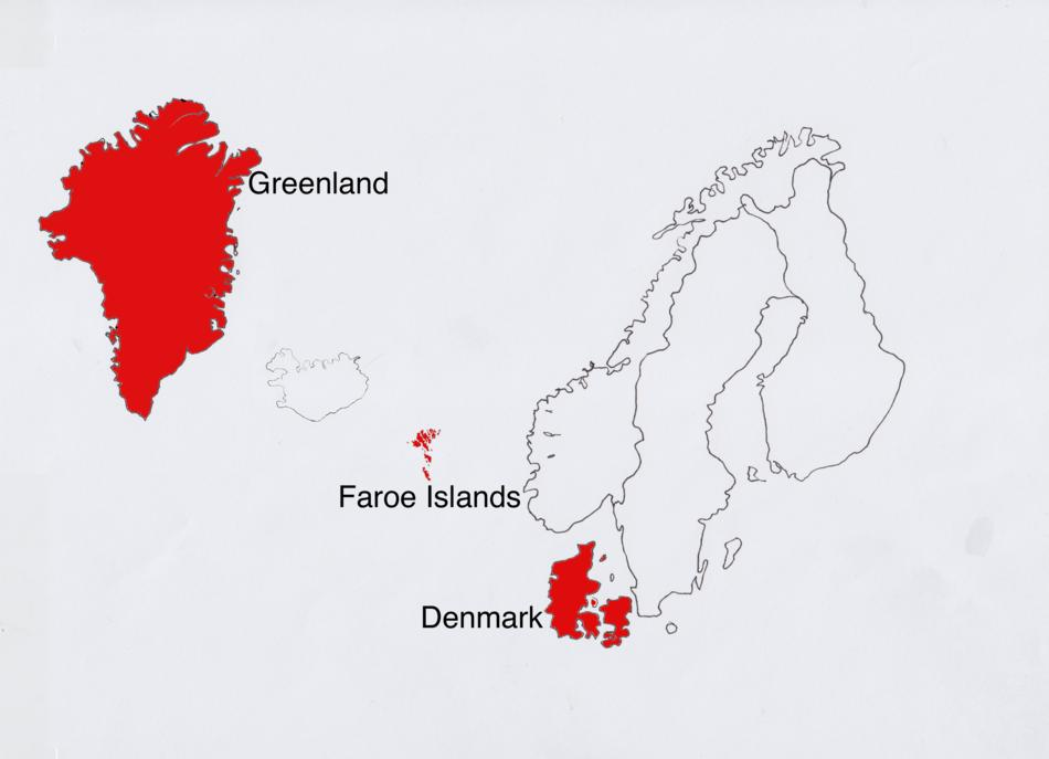 Map of Denmark, including  Greenland and the Faroe Islands